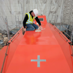 Fiberglass lifeboat refurbishment